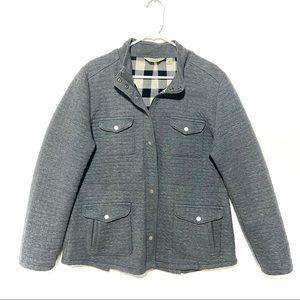 LL Bean men's quilted cotton blend jacket plaid